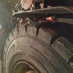 Our tyres MR800 12.00R20 in perfect condition after almost 6 months of toughest work in underground zinc-ore mine.