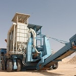 Giant mobile crushers equipped with 36.00R51 Magna MA09 on cement plant in Saudi Arabia